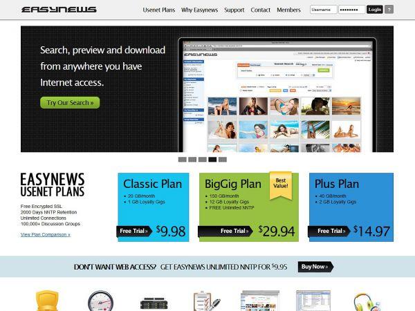 easynews.com Screenshot